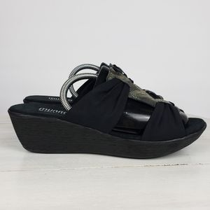 Munro wedge textile and snakeprint  bow sandals